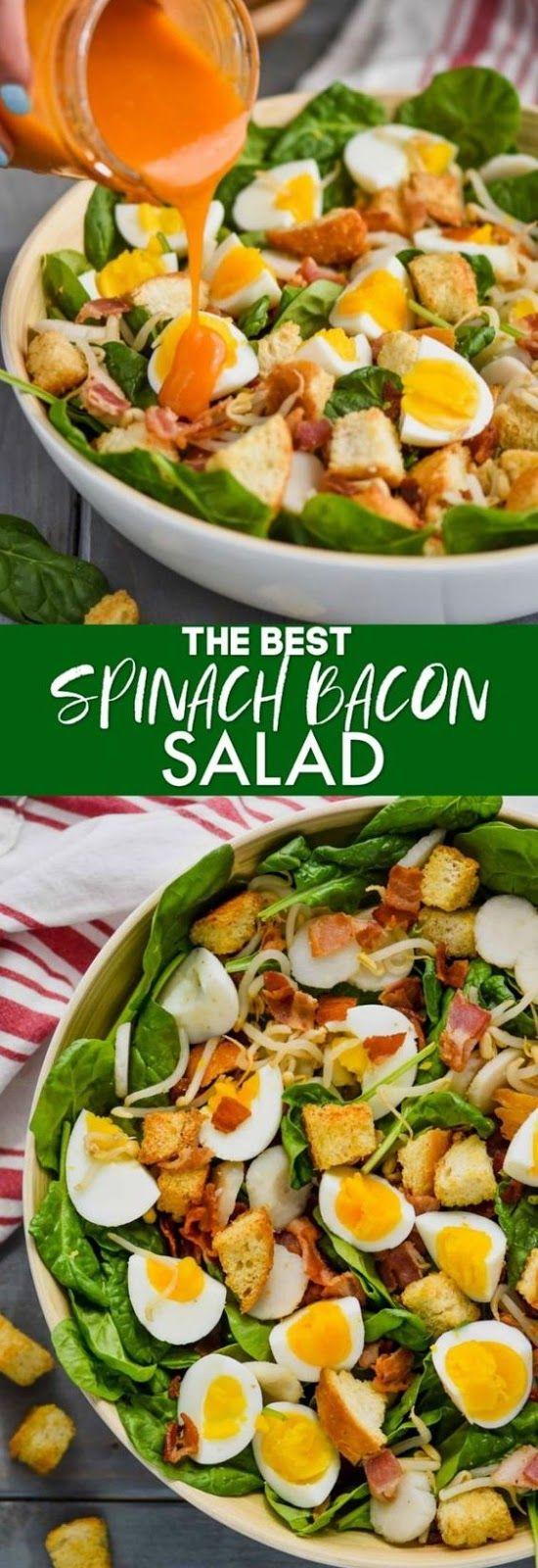 Spinach Bacon Salad salad Bacon salad, Spinach salad