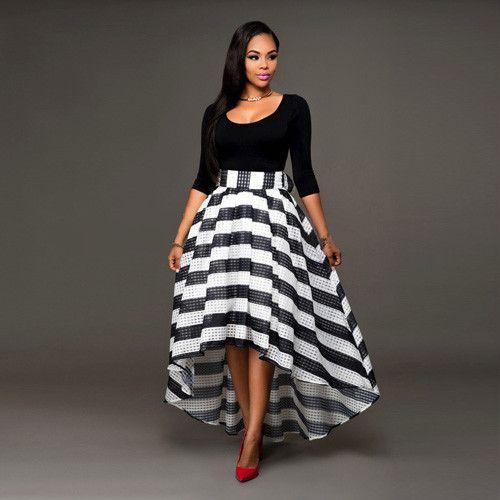 Women Long Summer Dress Elastic Waist Sexy Maxi Dresses Long Cotton Casual 3/4 Sleeve Women Plus Size Black Dresses