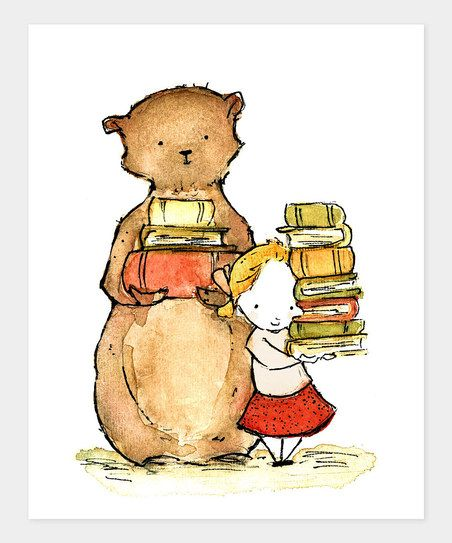 Blonde Library Buddies Print