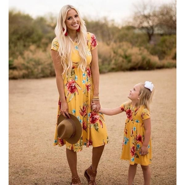 bc6e321e8773e Mommy and Me Yellow Floral Print Casual Midi Dress | Matching Mother ...