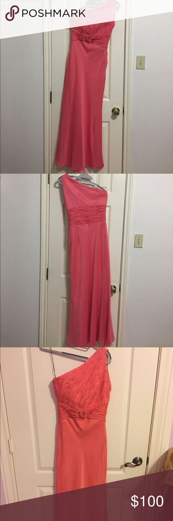 One shoulder coral gown Custom made in the Philippines. Worn once, dry cleaned. No tag since it was custom made. Im petite, size 0, 105 lbs, 5'1 in height. Perfect for prom, wedding, gala, formal event! Dresses Prom