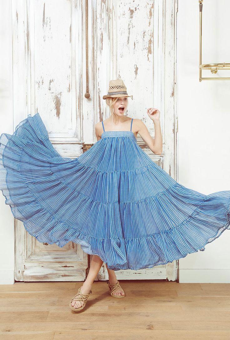 Mes Demoiselles...Paris Eva blue Dress SS 2016 Robe en voile de coton. Bretelles ajustables. Doublure en coton.