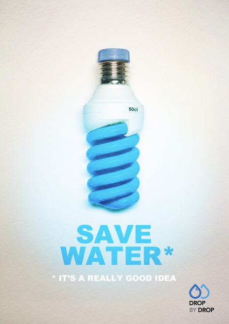 It's based on the term 'bright idea'. By using an energy saving bulb as a bottle it illustrates that saving water saves energy and is environmentally friendly. The graphic highlights water as a resource and motivates people to conserve it.