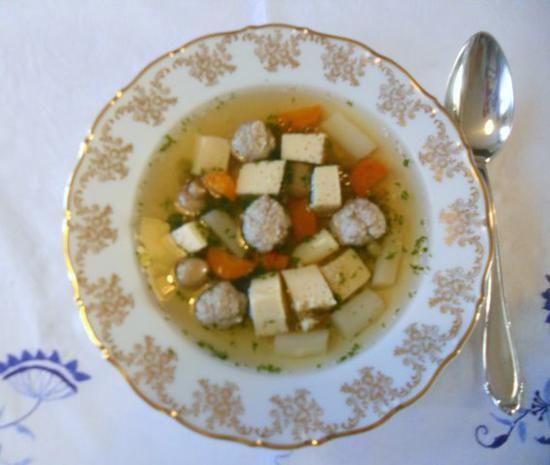 """Rezept: """"Oma - Friede`s"""" - Ostpreußische Festtagssuppe (eine leichte Vorsuppe)  (Rzpt. um 1910)"""