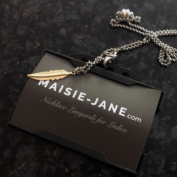 Gold Feather Necklace lanyard by Maisie-jane best way to style up your work pass.  Perfect gift for her/teacher End of Term or graduation! Quirky fun and stylish