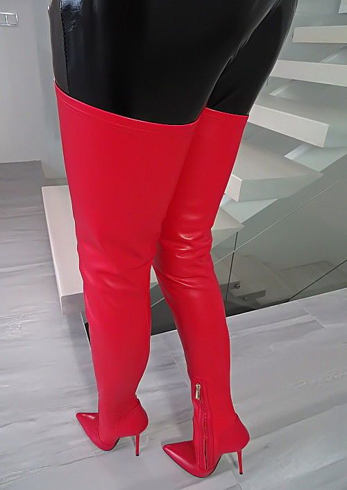 07a08cb6273c LEDER OVERKNEE STIEFEL 1969 ITALY B321 CROTCH RED LEATHER BOOTS HIGH HEELS  35-45