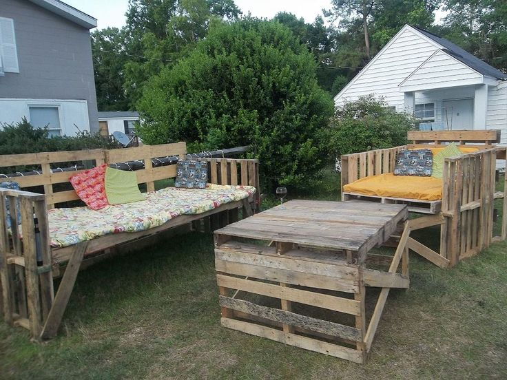 my husband built this entire pallet outdoor furniture set for us and the neighbors. It is our favorite hangout spot. Love having coffee at the morning…