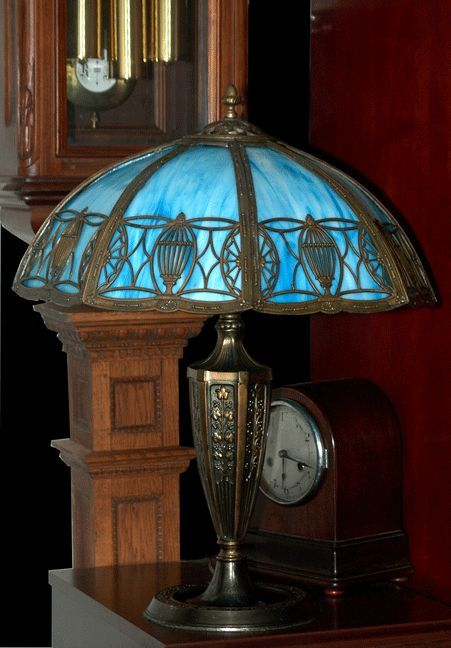 Blue Slag Vintage Antique Glass Lamp