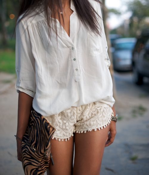 love the shorts: Fashion, Summer Outfit, Style, White Shirts, Laceshort, Animal Prints, White Lace, White Blouses, Lace Shorts