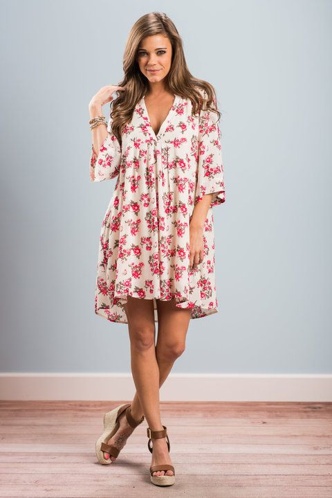 """""""Plenty Of Posh Dress, Natural"""" This dress definitely has plenty of posh! It's floral print is so fabulous! This beauty also has a super flowing fit that you are going to love! #newarrivals #shopthemint"""