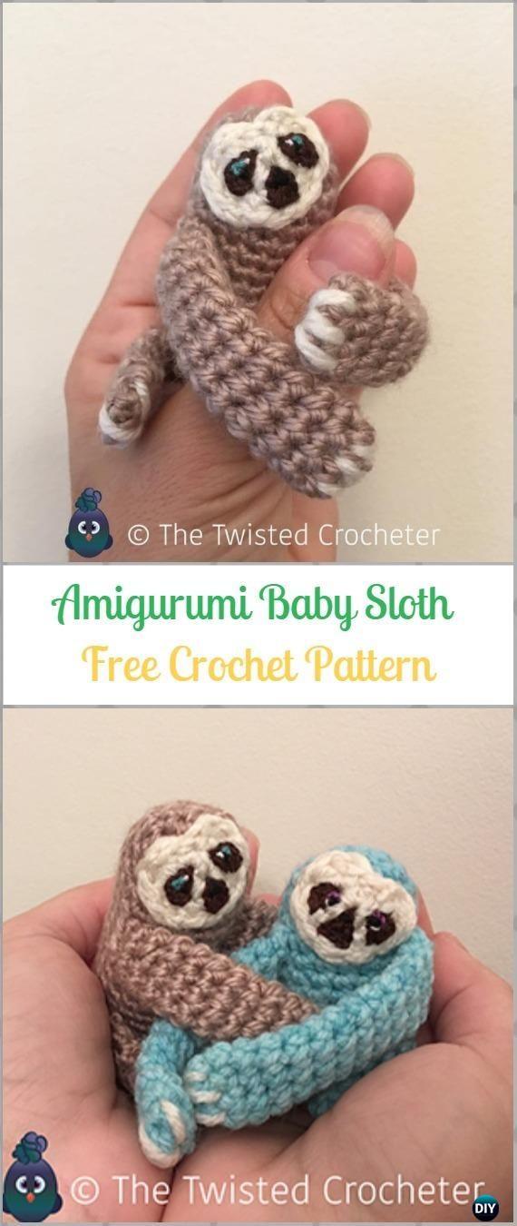 Crochet Amigurumi Baby SlothF ree Pattern-Crochet Sloth Amigurumi Toy Softies Free Patterns