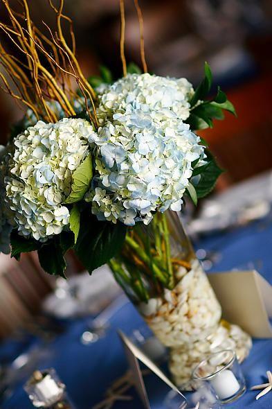 Please Help me pick my centerpiece! Lily vs. Hydrangea :  wedding hydrangea curly willow hydrangea centerpiece Tall Centerpiece