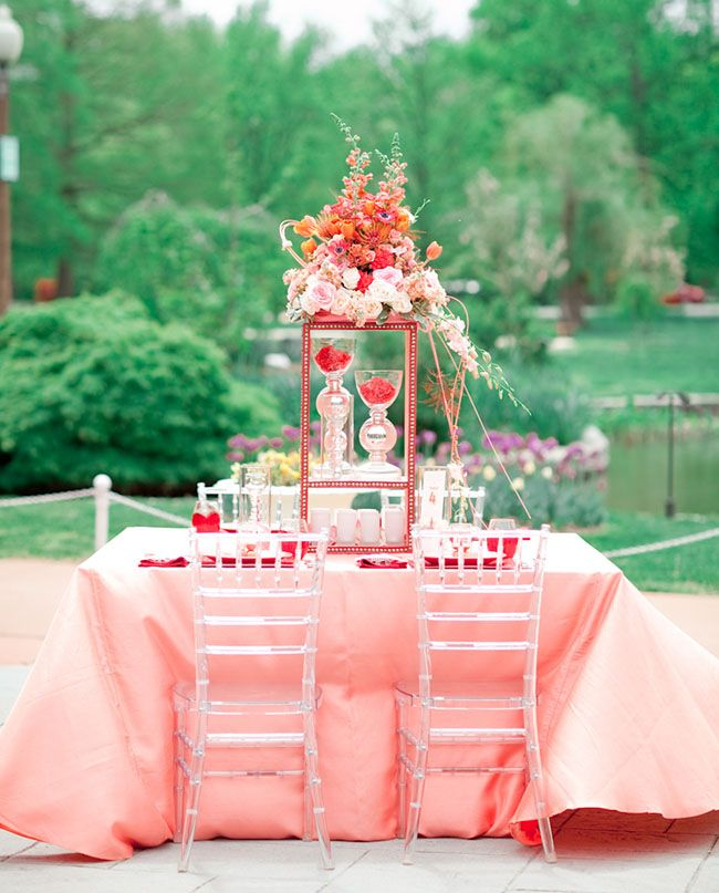 A Coral and Poppy Red Modern  Wedding/traditional tablescape