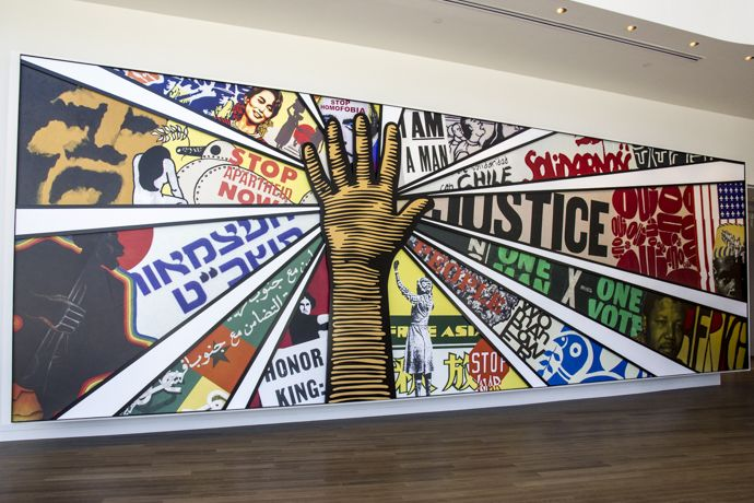 Paula Scher mural in the lobby of the Center for Civil and Human Rights, Atlanta http://wayinto.com/atlanta/center-for-civil-human-rights/