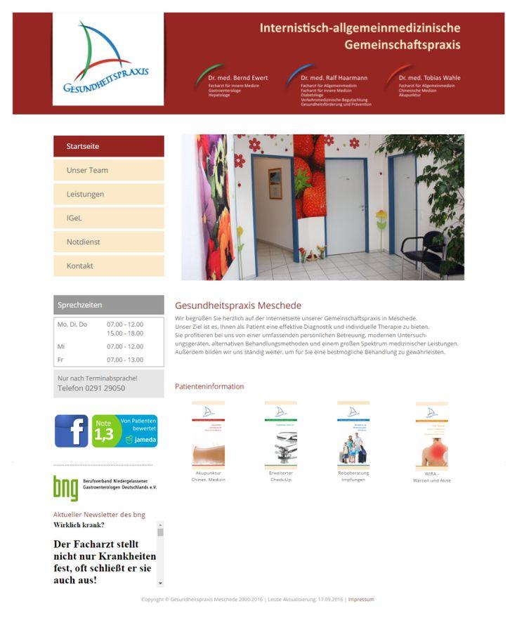 Homepage Arztpraxis  www.gesundheitspraxis-meschede.de