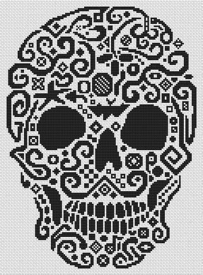 White Willow Stitching Tribal Skull - Cross Stitch Pattern. Based on the artwork of Jamie Larson. Model stitched over 2 threads on 22 Ct. Victorian Red Diana wi
