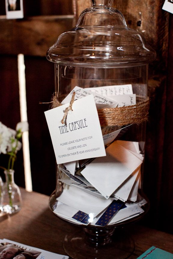 Guestbook time capsule - more interesting than a traditional guestbook.  Could add to the fun of a time capsule wedding ceremony.