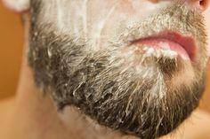 man with beard shampoo on face