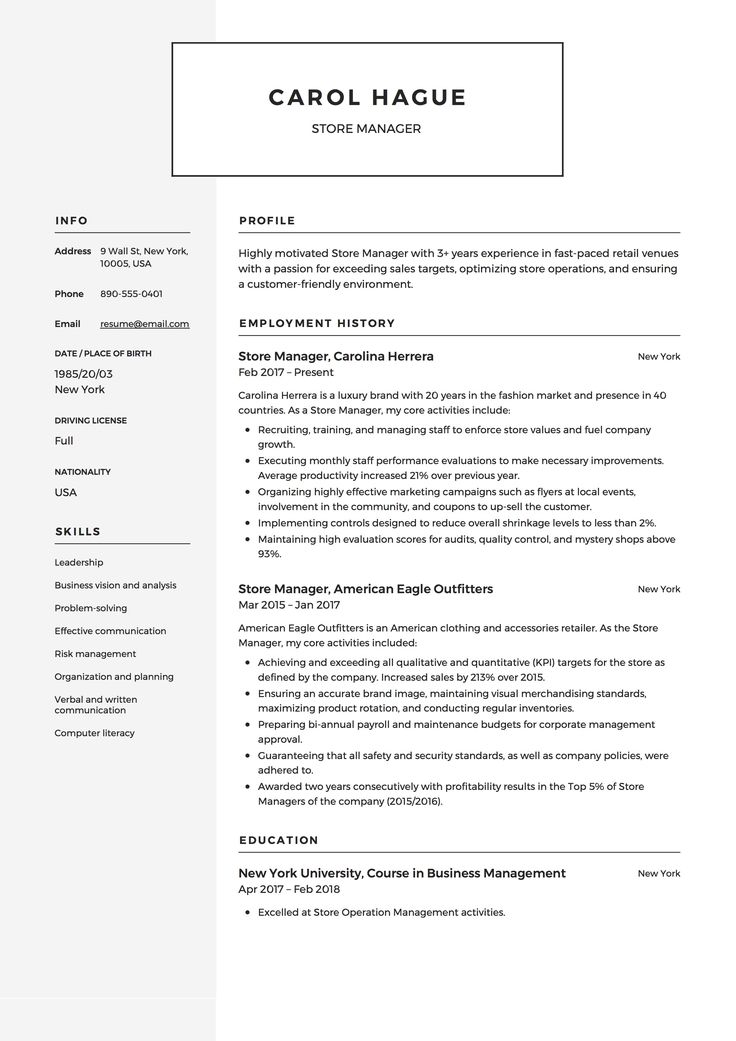 9 best Store Manager Resume Samples images on Pinterest - waitress resume