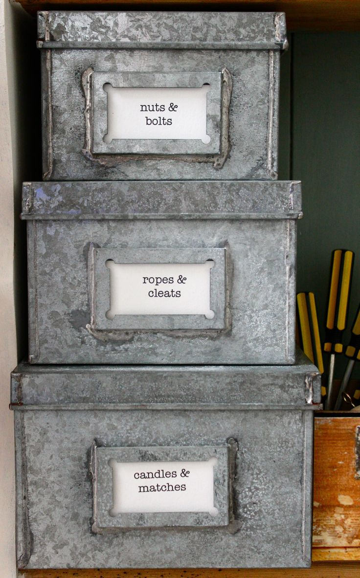 studio office organization galvanized boxes