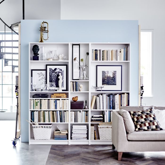 Storage is an amazing way to put your personality on display too. We especially like using open storage like this BILLY bookcase to make a gallery using big pictures, books and personal objects. If you don't want everything on show you can always use baskets on the shelves too.