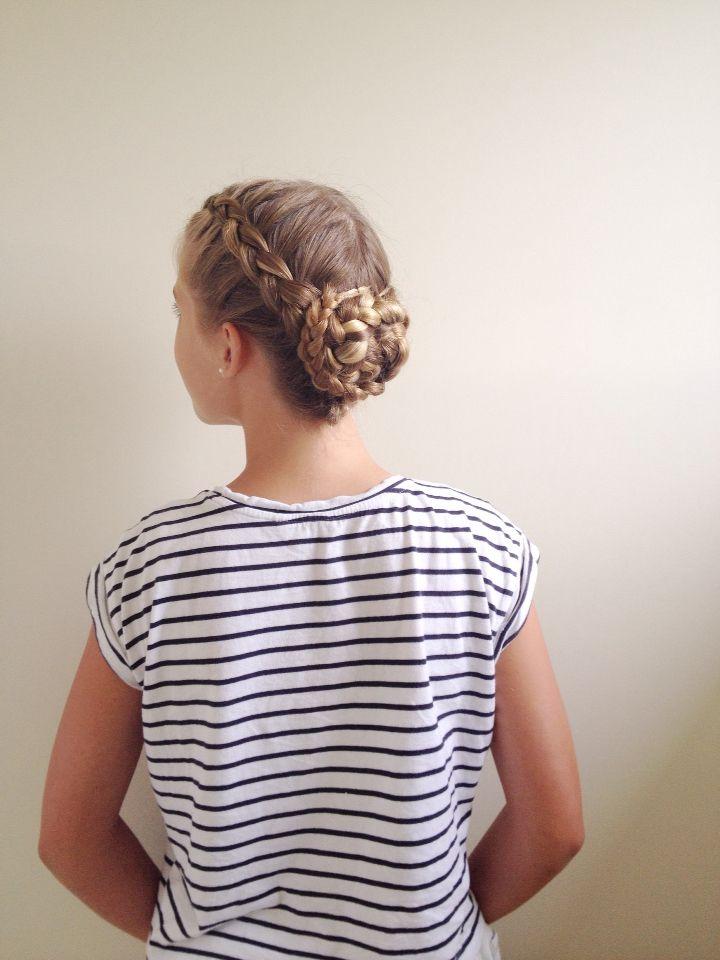 Double Dutch braids into a braided bun