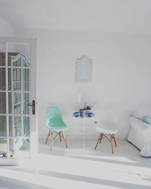 Scandinavian decor.Nordic decor. White living room.White floors.Mint decor.Pastel decor.