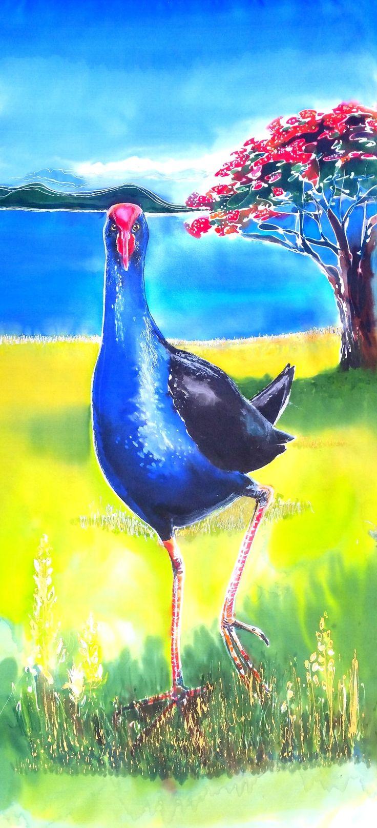 PUKEKO Bird with POHUTUKAWA OUTDOOR Wall Art Panel New Zealand,  Garden Art, Patio Art, Bird Art, from original Silk Painting, weatherproof by KaySatherleyArt on Etsy