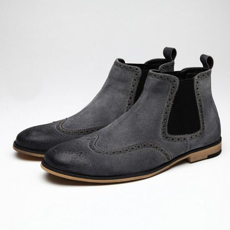 Chelsea Boots Men 2017 New Year Mens Platform Ankle Boots Suede Carved Casual Shoes Fashion Botas