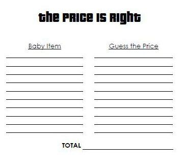 10 best images about diy price is right on pinterest for Free printable price is right baby shower game template