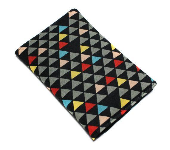 pochette papiers voiture carte grise, assurance, permis en tissu japonais géométrique triangles