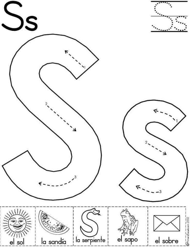 Alphabet Letter S Worksheet | Standard Block Font | Preschool ...