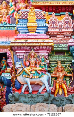 Lord Shiva and his wife Parvathi seated on Nandi bull. Sculpture from Meenakshi Temple, Madurai.