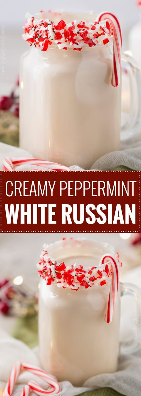 Creamy Peppermint White Russian | This winter cocktail is creamy, made with only 4 ingredients, and incredibly easy to make! | The 5 o'clock Chef | #whiterussian #wintercocktail #peppermint #drinks #drinkrecipe #kahlua