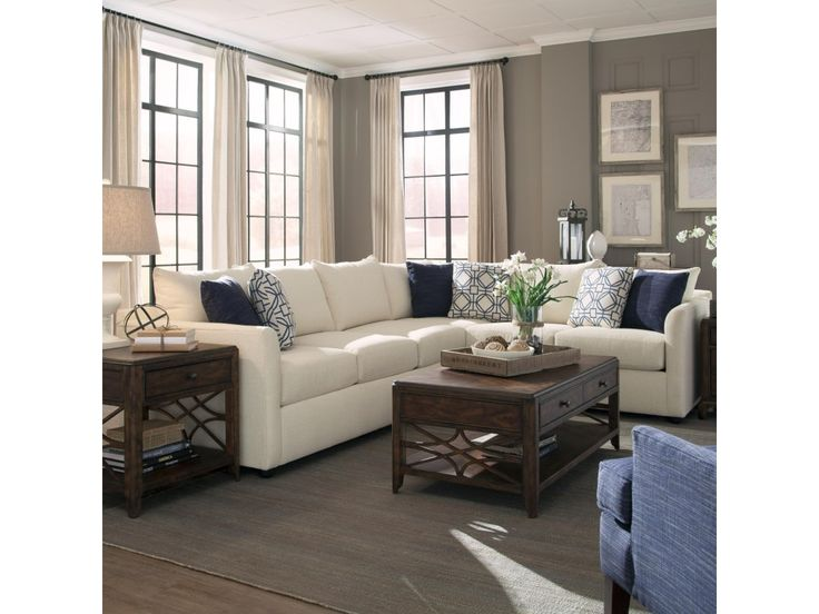 Trisha Yearwood Home Collection by Klaussner Atlanta Transitional Sectional Sofa with Tuxedo Arms - Old Brick Furniture - Sofa Sectional