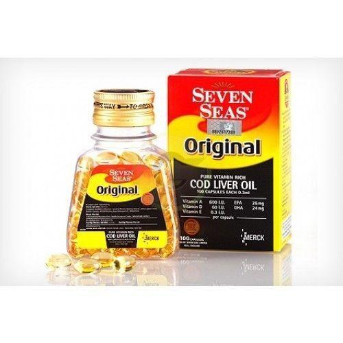100% Pure SEACOD Fish Liver Oil 200 Softgel Natural Omega-3 DHA EPA Vit A D E #SEVENSEASORIGINALMERCK