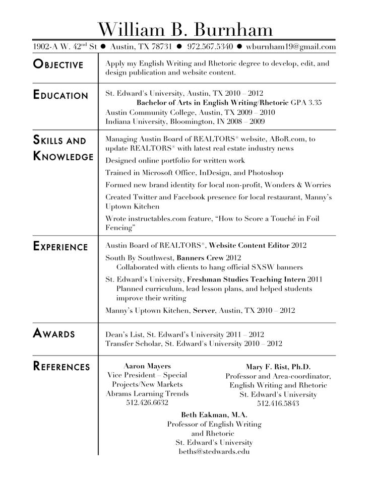 resume for social work