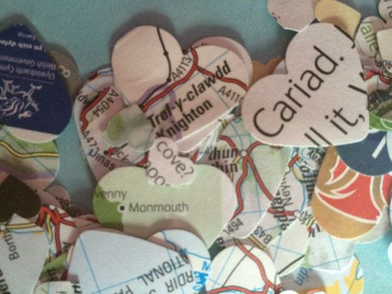 Paper confetti Hearts Welsh Map Party decor Recycled by FuNkTjUnK