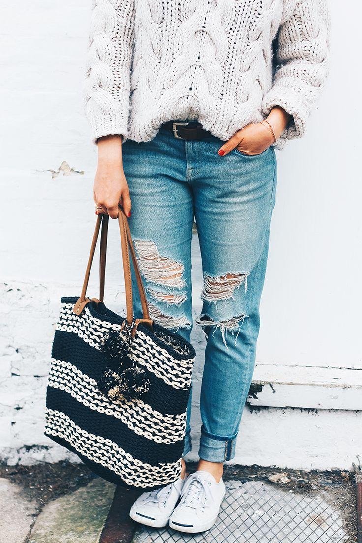 Oversized Cream Jumper + Ripped Bleach Blue Jeans | Monica Beatrice Welburn | The Elgin Avenue Blog