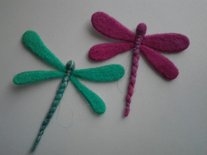 Needle felted dragonflies