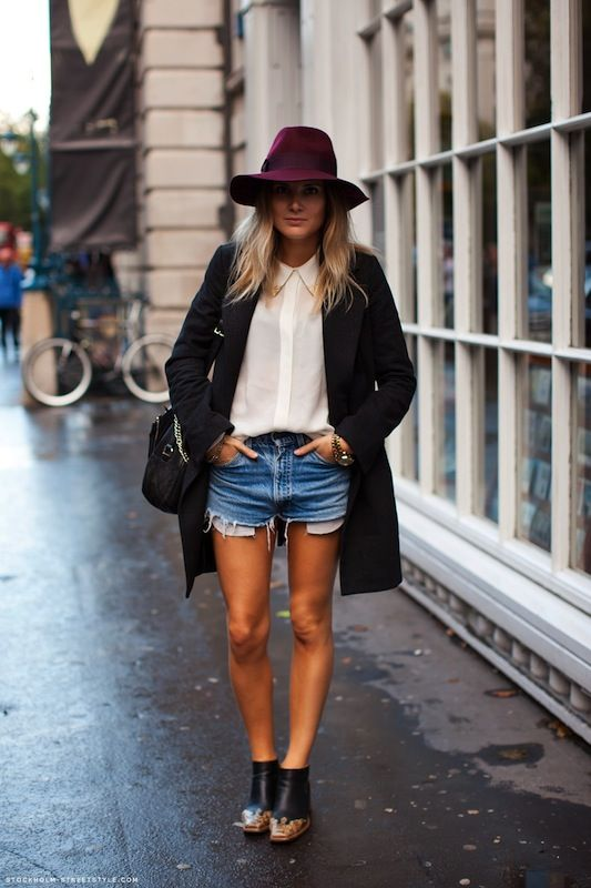 White button up + jeans shorts + black blazer + wide brim hat + oversize watch + killer booties + go-to bag = must have basics
