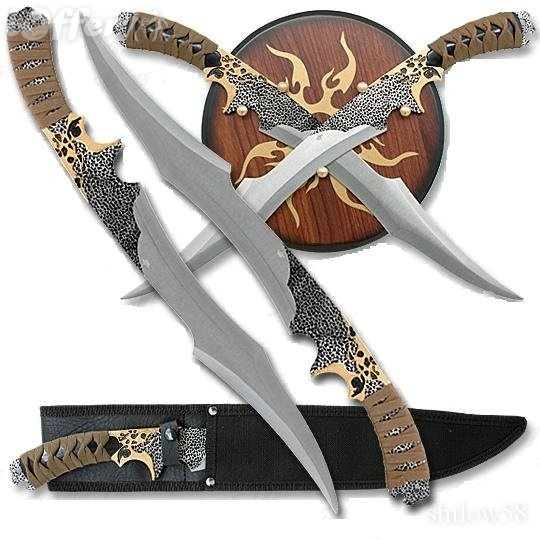Elf_Warrior Twin Fantasy Sword Plaque and Sheath Set