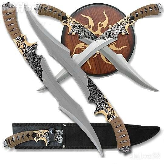 Elf_Warrior Twin Fantasy Sword Plaque and Sheath Set