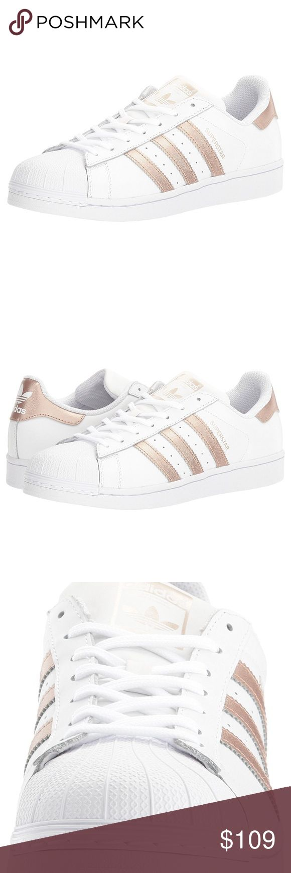 Adidas Superstar WHITE/ROSE GOLD Size 7.5