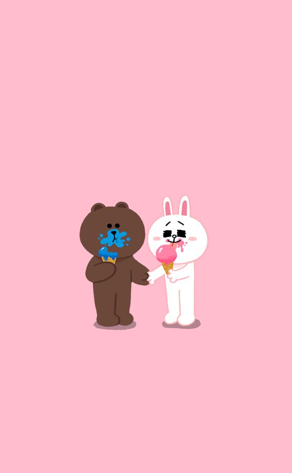 Bunny Wallpaper Cute Brown Amp Cony Line Line Friends Couple Wallpaper Cute