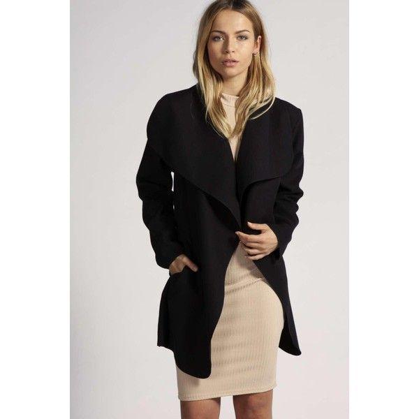 Boohoo Abigail Waterfall Coat (£23) ❤ liked on Polyvore featuring outerwear, coats, black, waterfall coat, rain coat, duster coat, leather-sleeve coats and wrap coat