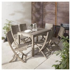 porto 7 piece distressed effect wooden garden dining set from our garden furniture sets range