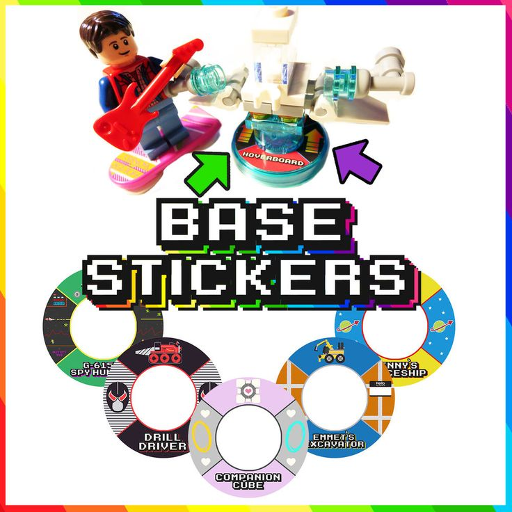 Lego Dimensions Base Stickers - 48 UNIQUE DESIGNS TO LABEL YOUR BLANK BASES