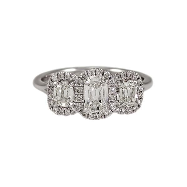 14 Karat White Gold Three-Stone Diamond Ring With Cushion Cut Diamonds