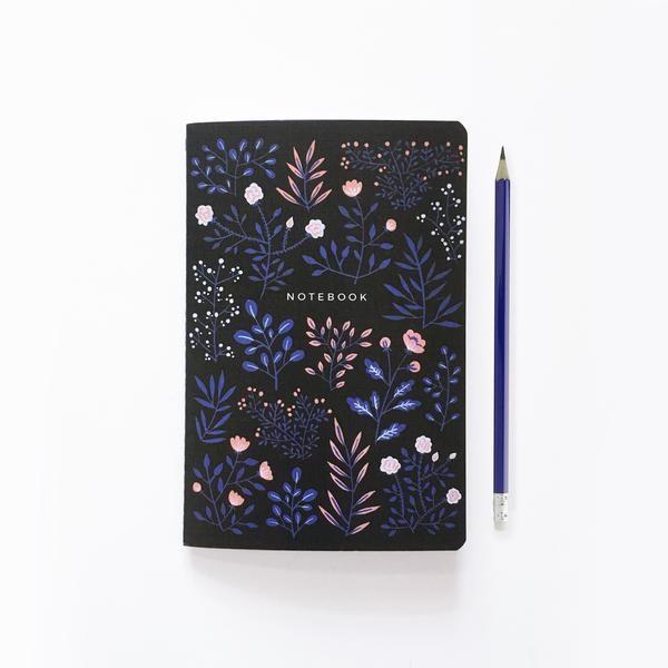 Moon Flowers - Dot Grid Notebook